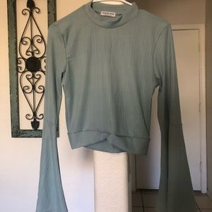 Sage colored bell sleeve crop top
